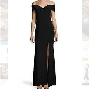 Xscape off the shoulder black evening gown 6 M